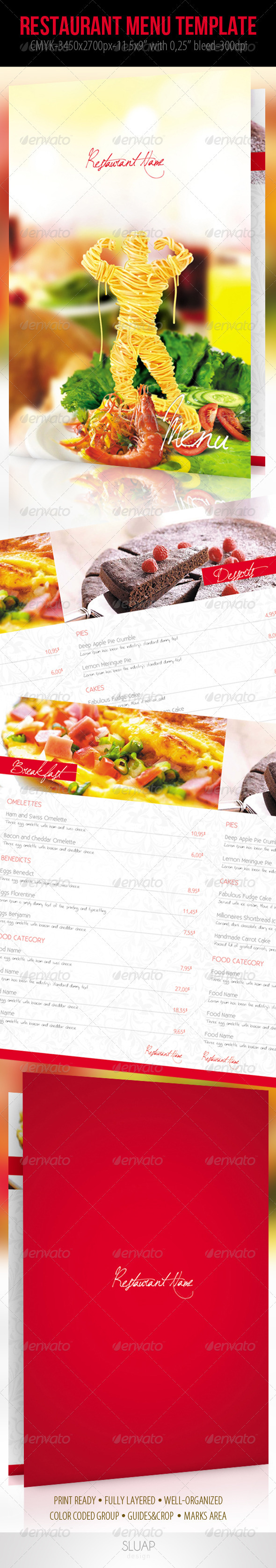 Restaurant Menu Template - Food Menus Print Templates