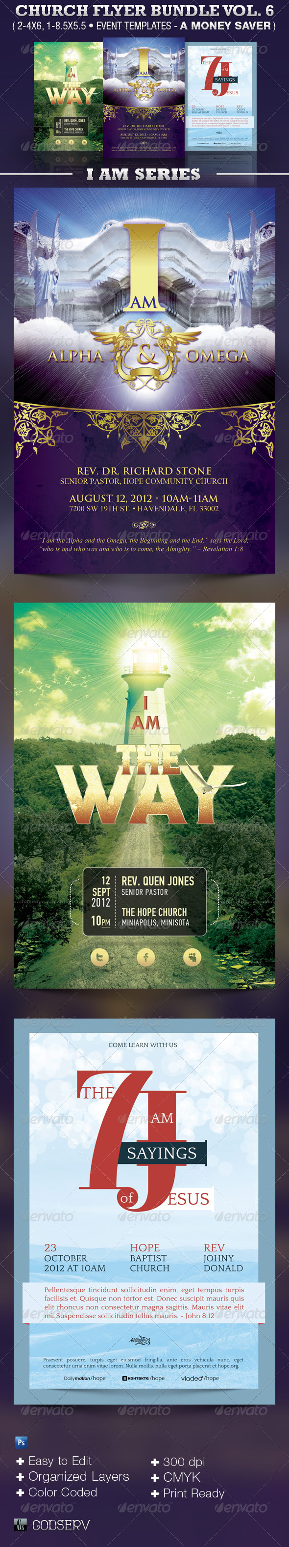 Church Flyer Template Bundle Vol 6 - I Am Series - Church Flyers