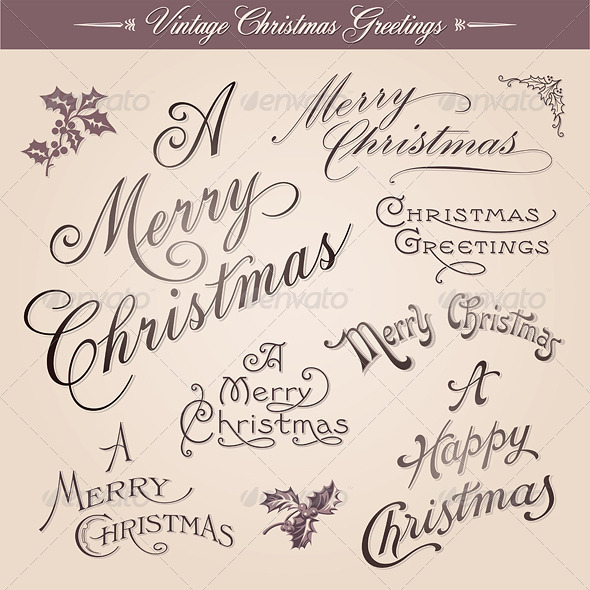 GraphicRiver Vintage Calligraphic Christmas Greetings 3652987