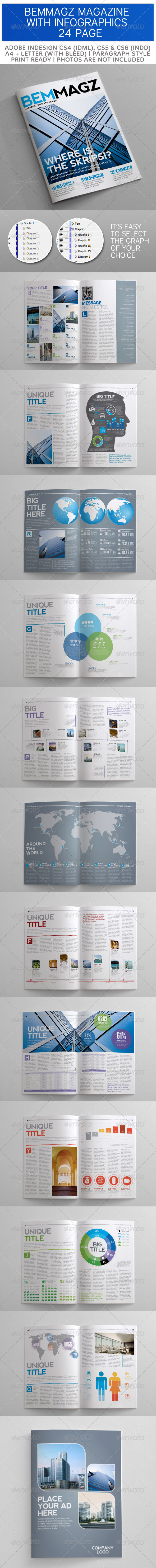 GraphicRiver BemMagz Magazine Template with Infographics 3483414