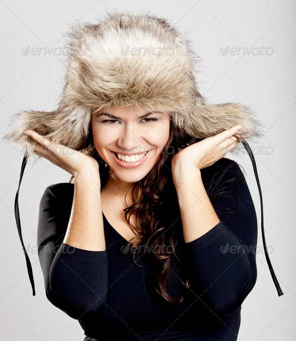 PhotoDune Girl with a fur hat 3661584