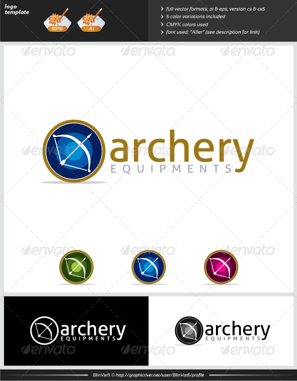 Archery Equipments Logo Template - Objects Logo Templates