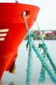 Vessel moored in port, focus on mooring rope splice - PhotoDune Item for Sale