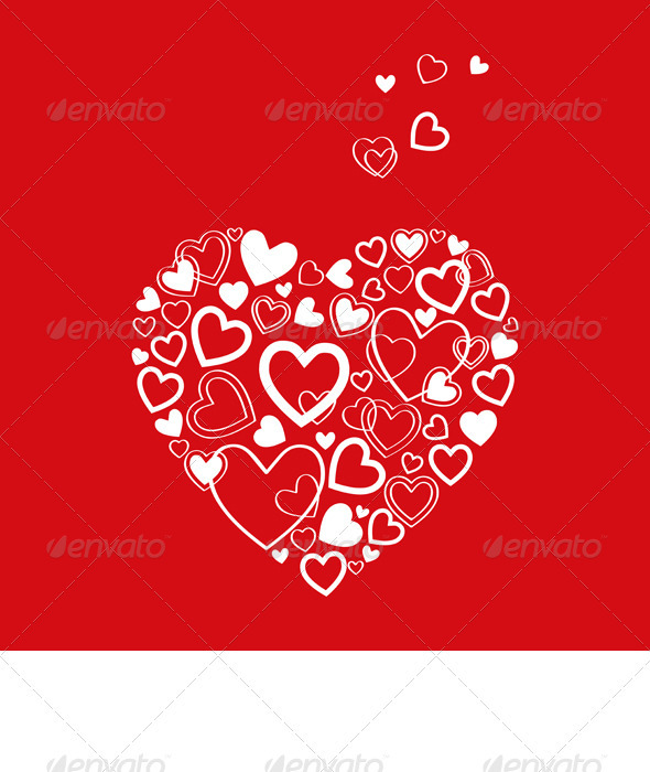 Vector Red Valentine's Day Card with Hearts - Valentines Seasons/Holidays