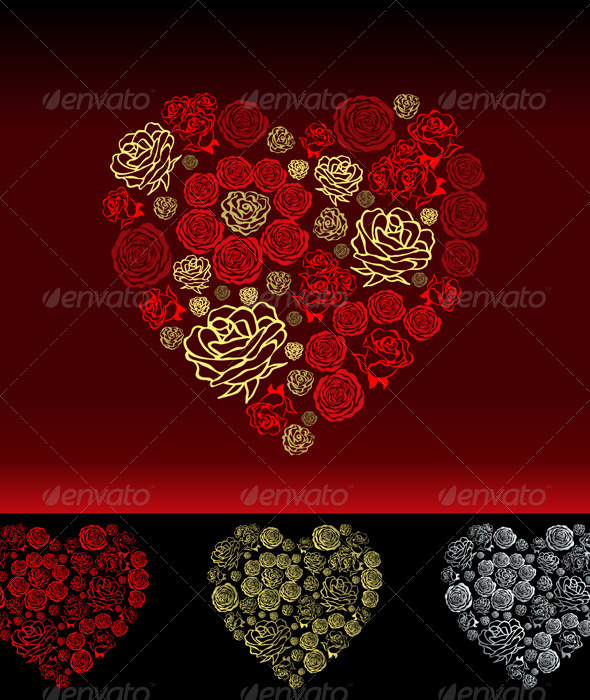 Vector Red Valentine's Day Card with Flower Hearts - Valentines Seasons/Holidays