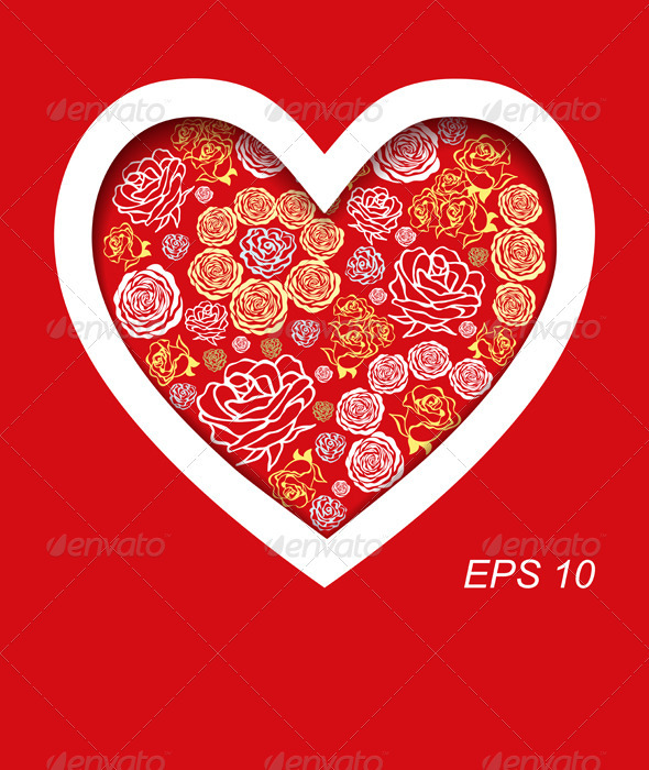 GraphicRiver Vector Red Valentine s Day Card with Flower Hearts 3655961