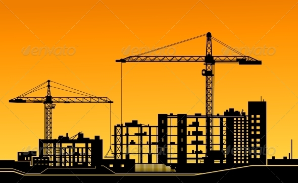 GraphicRiver Working Cranes on Construction Site 3656239