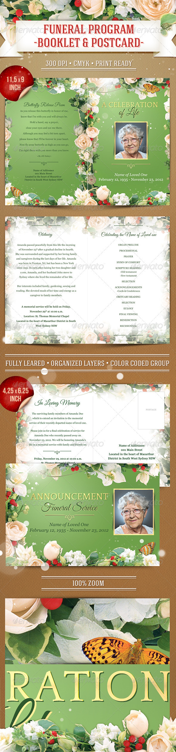 GraphicRiver Funeral Program Template Booklet & Postcard 3656880
