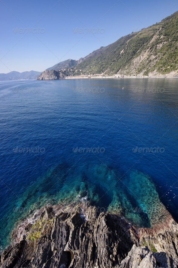 Corniglia coast and sea - Stock Photo - Images