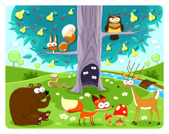 GraphicRiver Animals and Tree 3660252