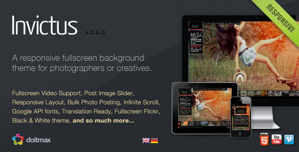 ThemeForest Invictus A Premium Photographer Portfolio Theme 180096