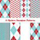 Argyle Chevron Patterns in Aqua Blue and Dark Red - GraphicRiver Item for Sale