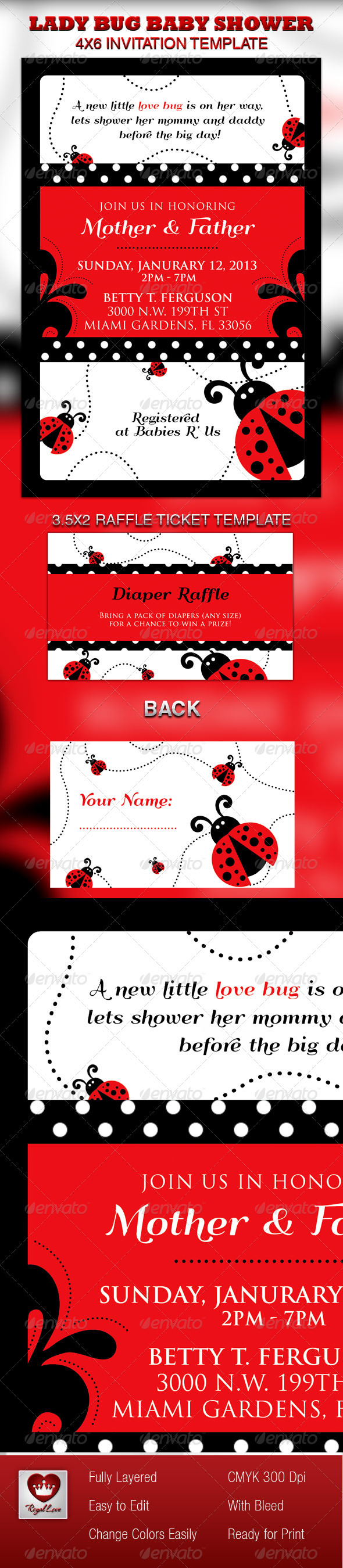 Lady Bug Baby Shower Invitation & Raffle Ticket - Invitations Cards ...