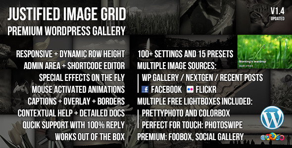 CodeCanyon Justified Image Grid Premium WordPress Gallery 2594251