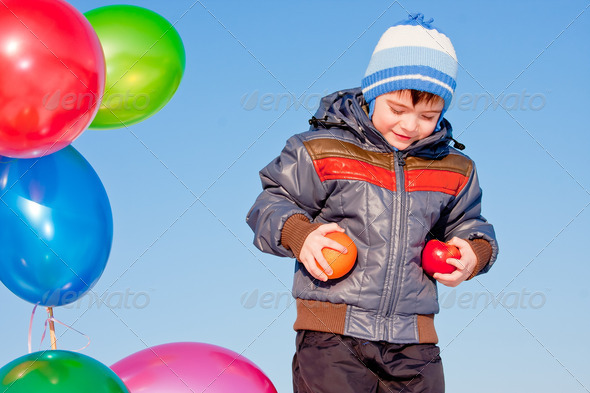 PhotoDune boy with air marbles on nature 3665067