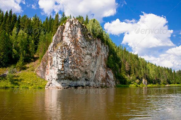 PhotoDune beautiful Ural nature on the river Chusovaya Perm edge 3665286