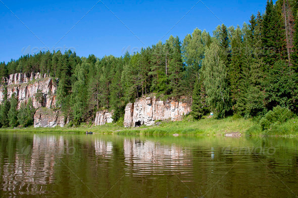 PhotoDune beautiful Ural nature on the river Chusovaya Perm edge 3665321