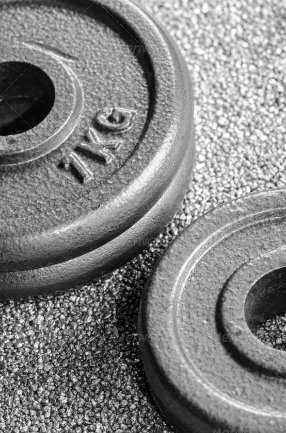 PhotoDune Grey dumbbell weights 3665350