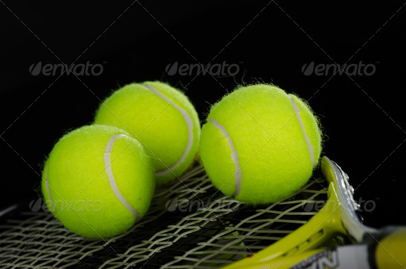 PhotoDune Tennis balls and racket 3665357