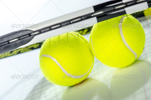 PhotoDune Tennis balls and racket 3665371