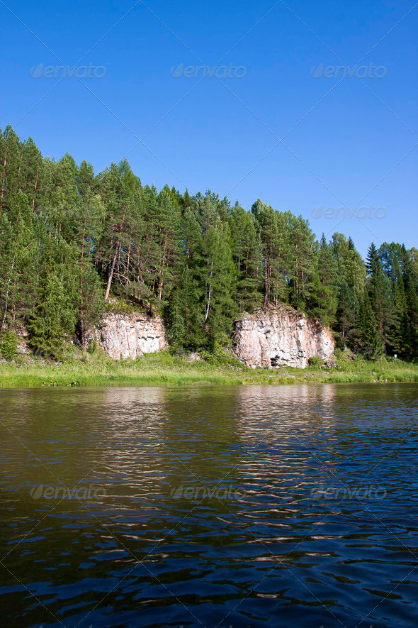 PhotoDune beautiful Ural nature on the river Chusovaya Perm edge 3665330