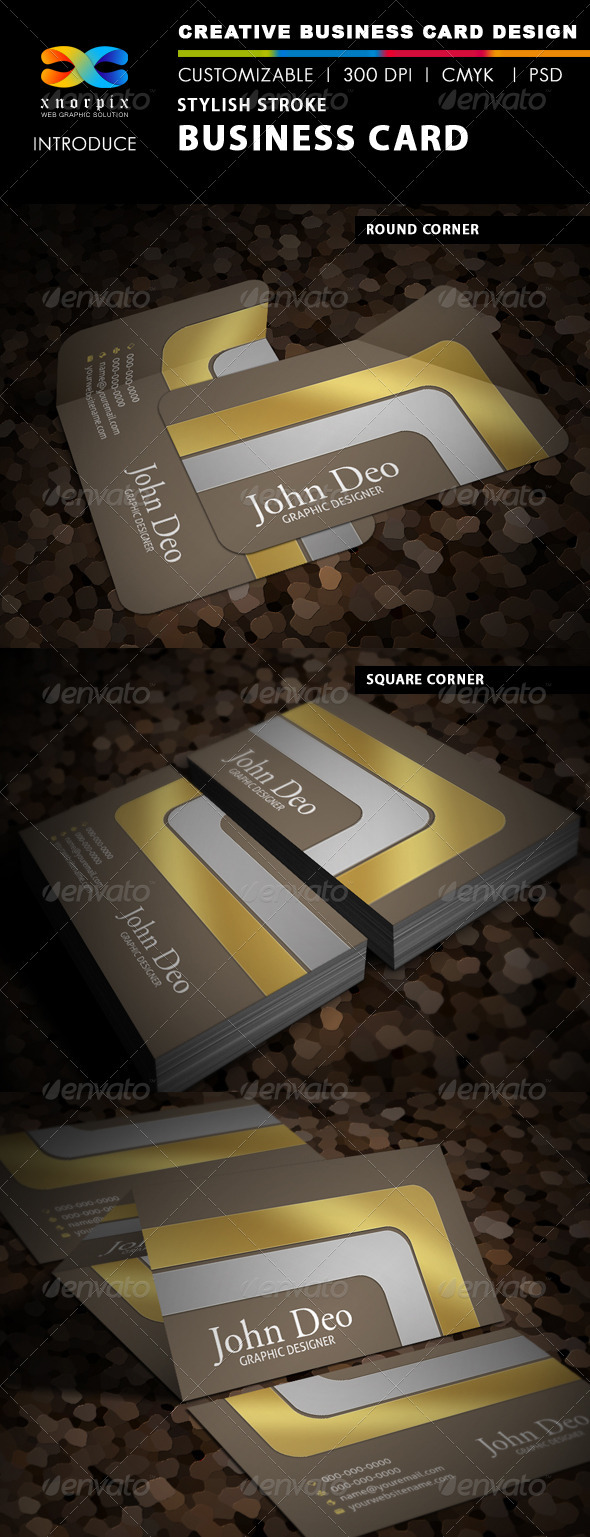 Stylish Stroke Business Card - Corporate Business Cards