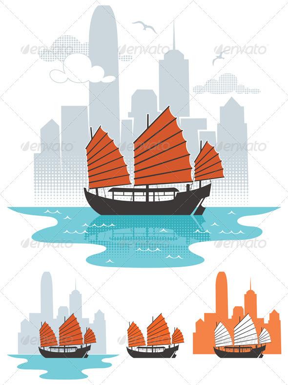 GraphicRiver Hong Kong Boat 3665935