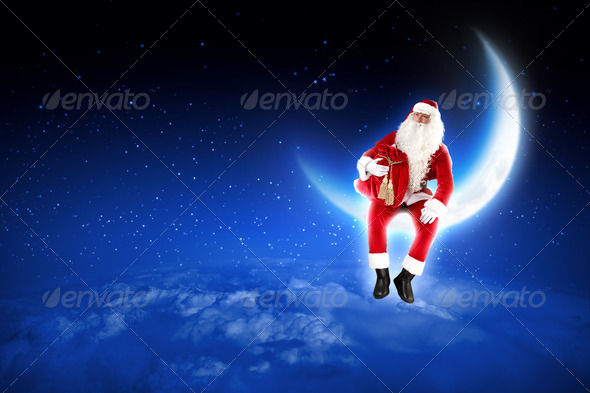 PhotoDune photo of santa claus sitting on the moon 3667993
