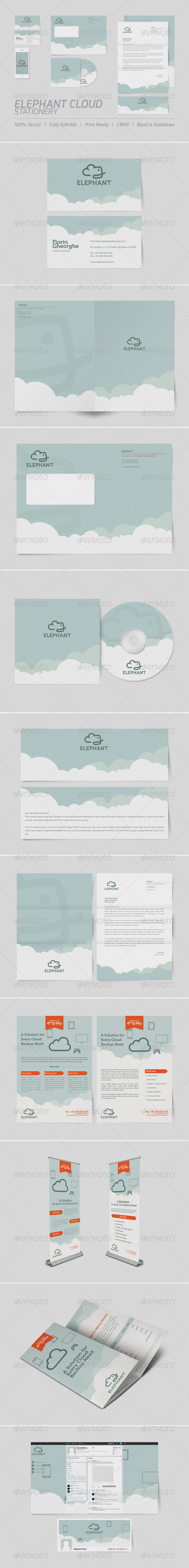 GraphicRiver Elephant Cloud Stationery 3666940