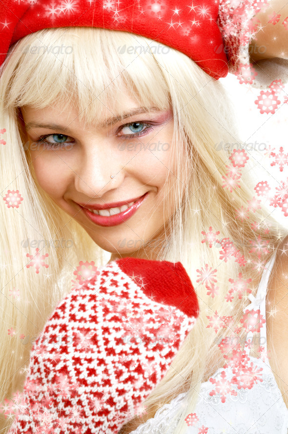 santa helper girl #2 with snowflakes - Stock Photo - Images