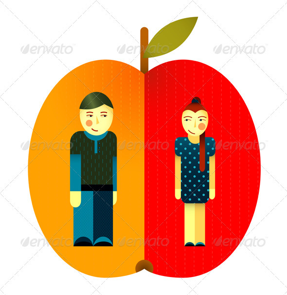 GraphicRiver Young Graphic Couple and Apple 3668105