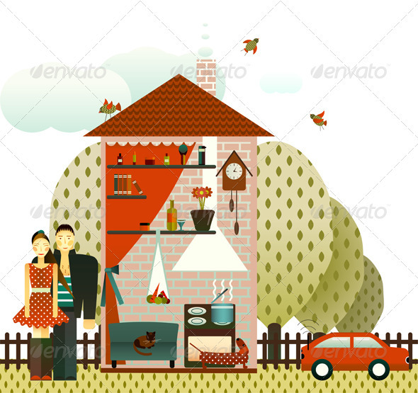 GraphicRiver Couple in the Village House 3668108