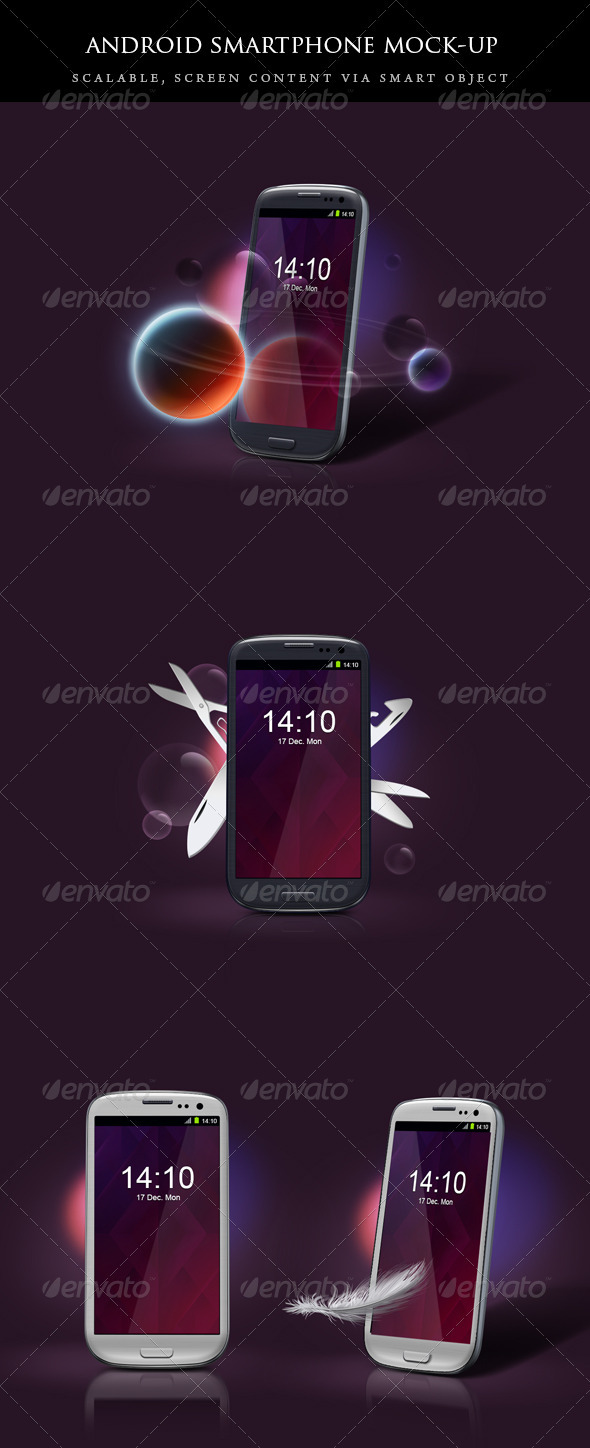 Android smartphone mockup set - Mobile Displays