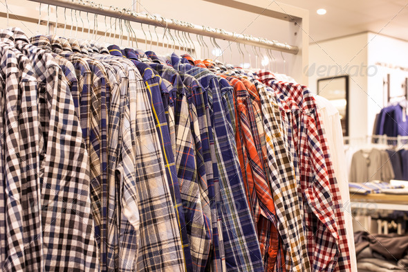 Checkered Shirts on the Store Rack - Stock Photo - Images