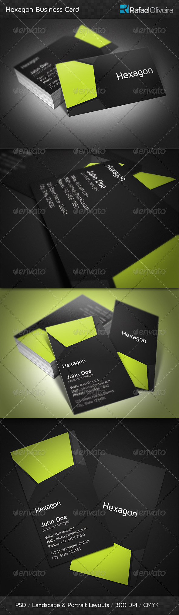 GraphicRiver Hexagon Business Card 3671877