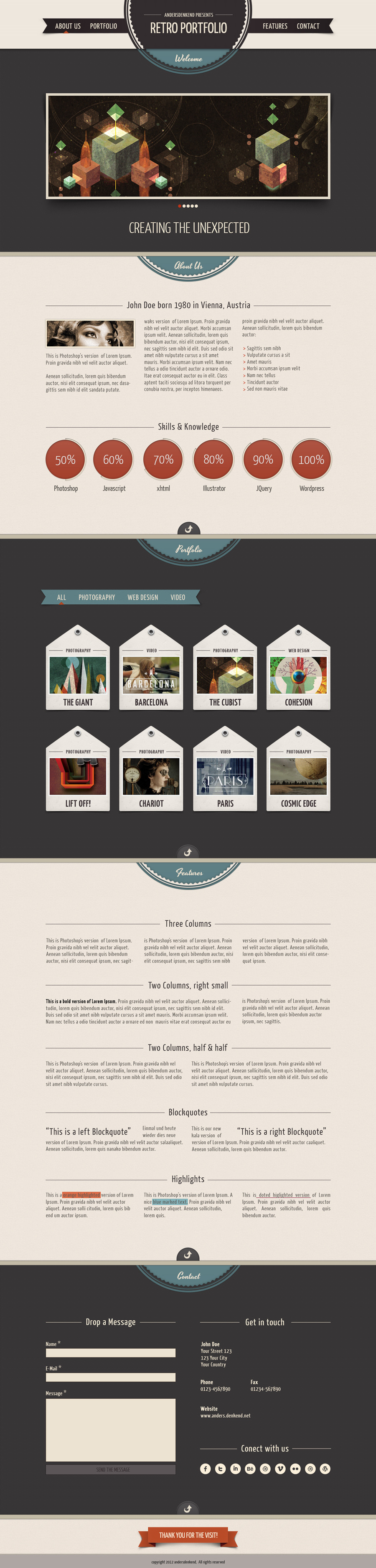 HTML Site - Retro One Page Portfolio