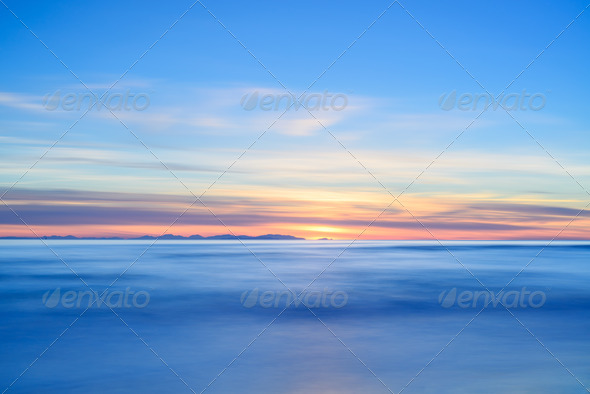 PhotoDune Corsica or Corse island sunset view from Italian beach coast 3675651