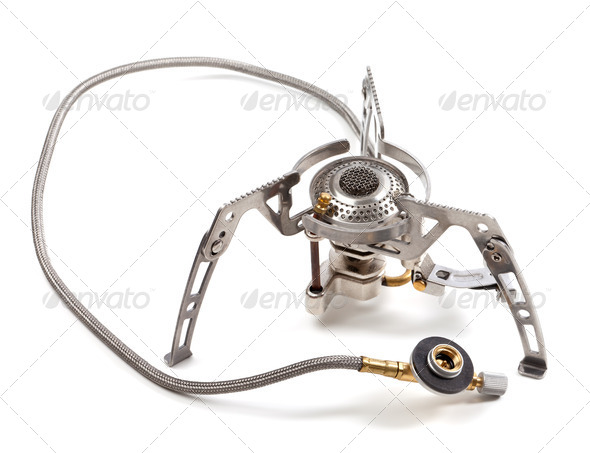 Camping gas stove on white background - Stock Photo - Images