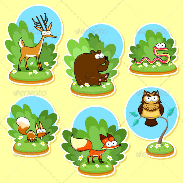 GraphicRiver Funny Woods Animals 3677657