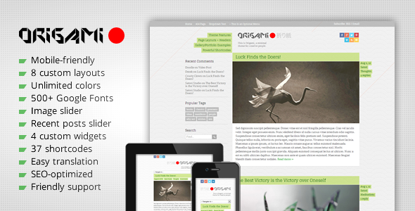ThemeForest Origami Minimal Responsive WordPress Theme 3023281