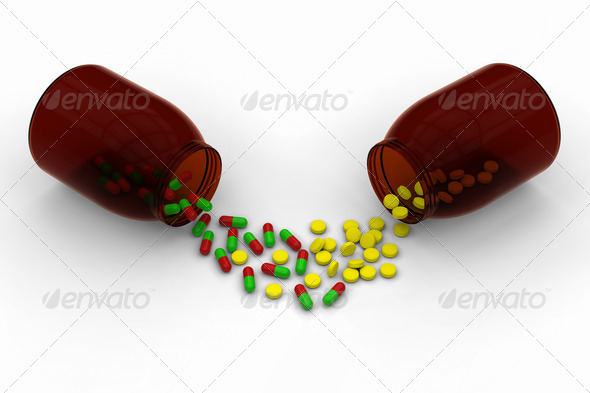 PhotoDune Red green capsules Vs yellow pills 3681015