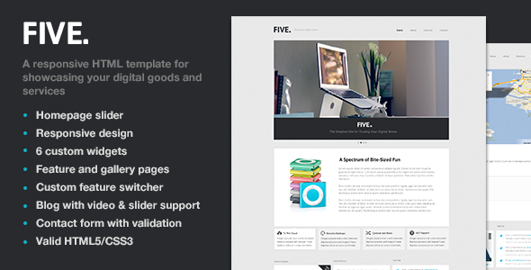 Five - Responsive HTML Template - Preview - Five is an elegant, responsive HTML template for showcasing your digital goods and services. Five&#x27;s tile-like layout adapts to display your products and services on any device in a striking and concise way. Create unlimited widget tiles, features pages, and galleries as well as blog posts that support, videos, sliders and images.
