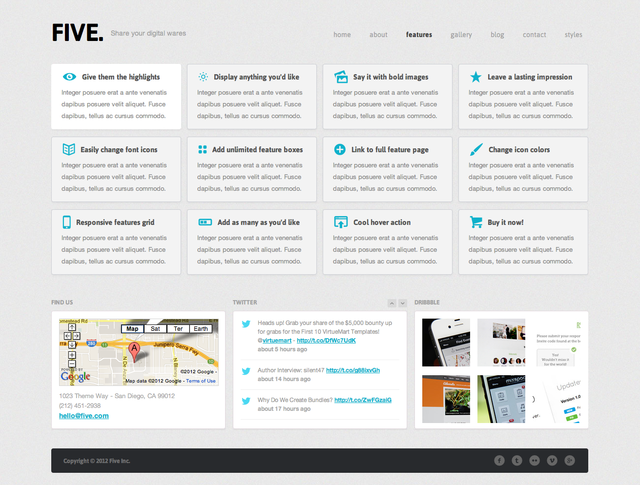 Five - Responsive HTML Template - Features