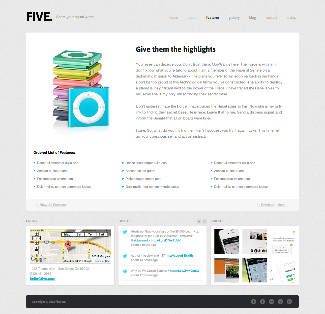 Five - Responsive HTML Template - Feature Full