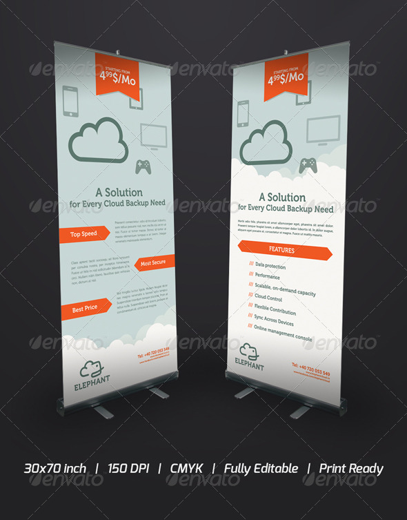 Elephant Cloud Roll-Up Banner - Signage Print Templates