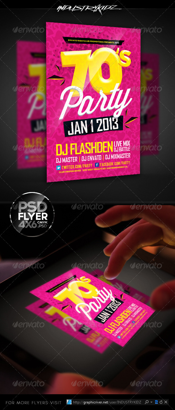 Retro Theme Party Flyer Template - Events Flyers