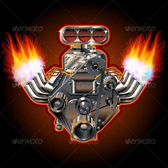 GraphicRiver Vector Cartoon Turbo Engine 3684079