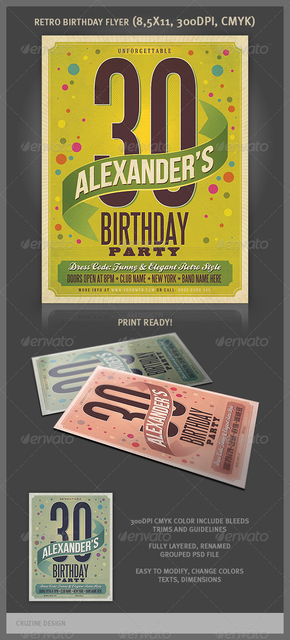 GraphicRiver Retro Birthday Party Flyer 3684610