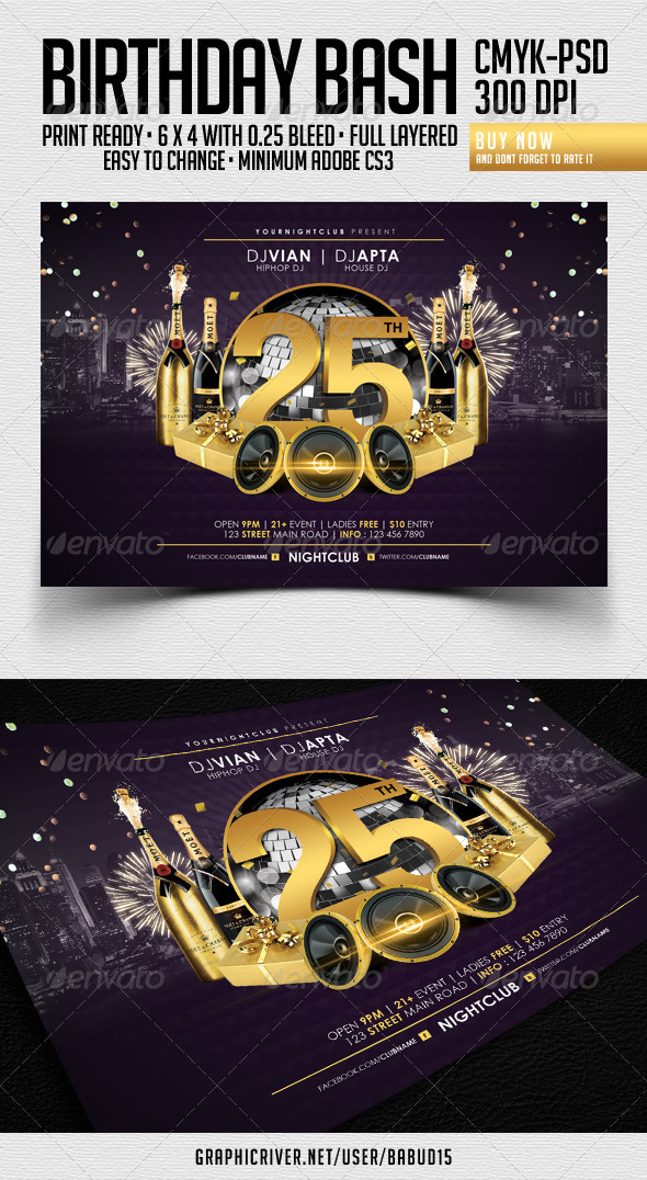 GraphicRiver Birthday Bash Flyer Template 3684895