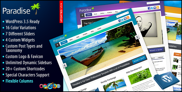 ThemeForest Paradise Premium WP Theme 155505